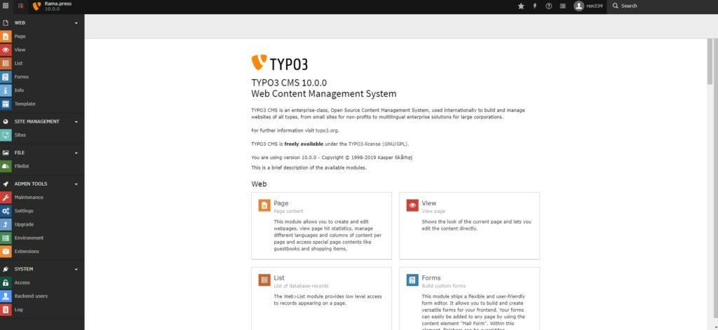 Панель администратора Typo3 v10