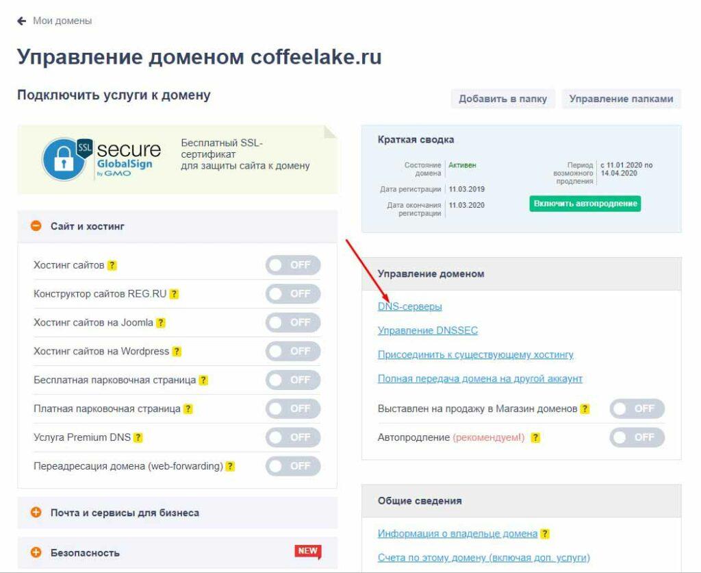 Смена DNS на Reg.ru